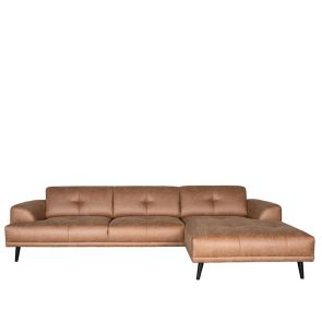 Bank Salerno 2,5-Zits + Chaise Longue Cognac Microvezel 1